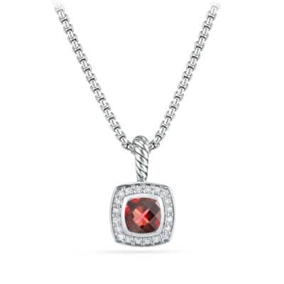 Petite Albion Pendant Necklace with Pyrope Garnet and Diamonds