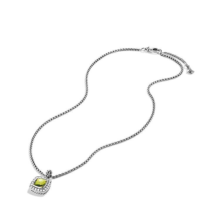 Petite Albion Pendant Necklace with Peridot and Diamonds