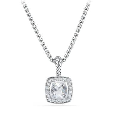 Petite Albion Pendant Necklace with White Topaz and Diamonds