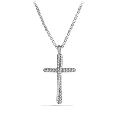 Crossover Cross Necklace with Diamonds