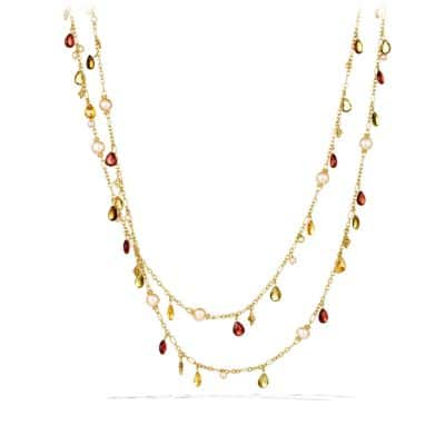 Bead Necklace with Peach Pearls and Garnet in Gold