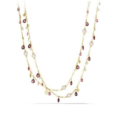 Bijoux Bead Necklace with Pink Tourmaline, Red Garnet, and Pearls in 18K Gold