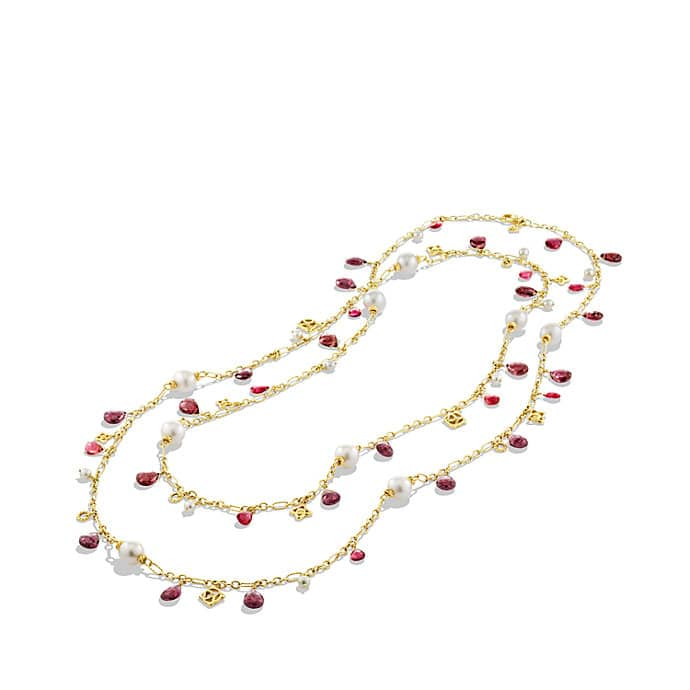 Bead Necklace with Pink Tourmaline, Red Garnet, and Pearls in Gold