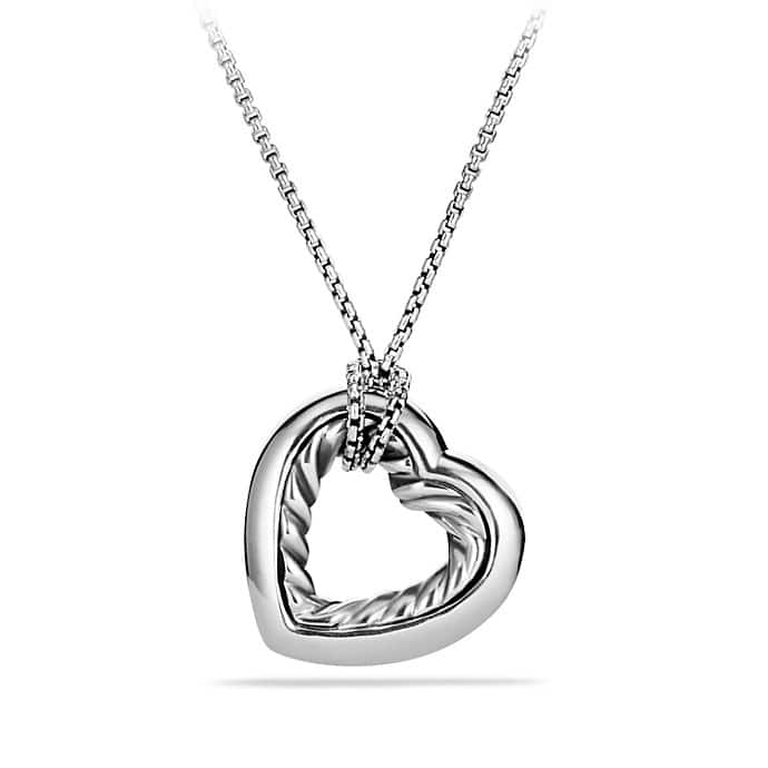Cable Heart Medium Pendant Necklace with Gold