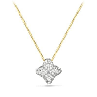 Quatrefoil Small Pendant Necklace with Diamonds in Gold