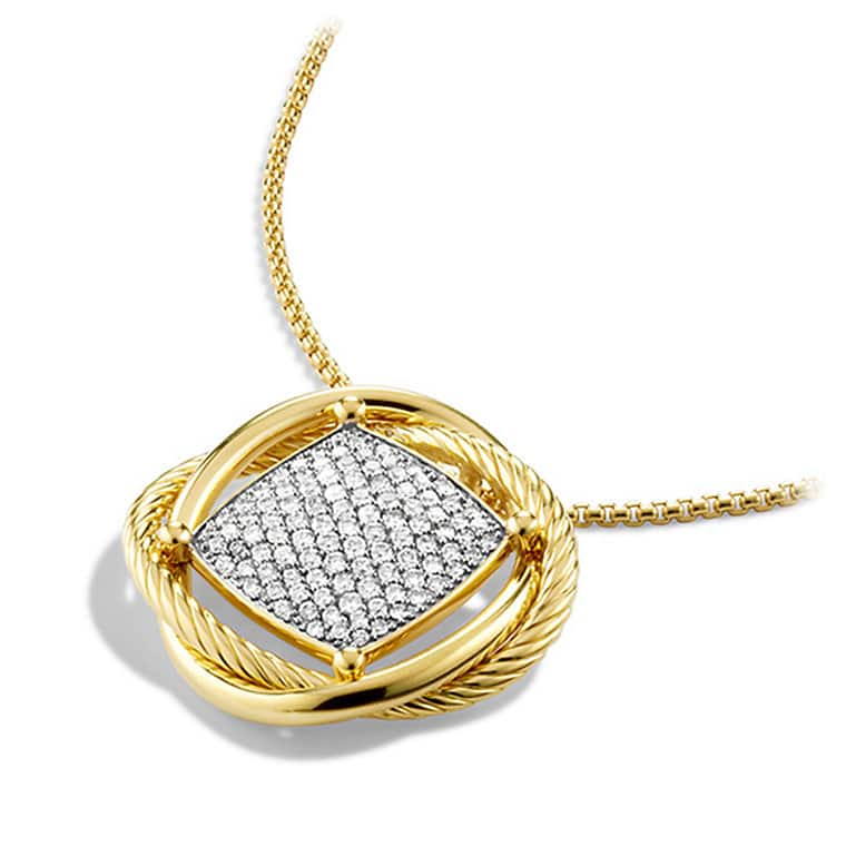 Infinity Large Pendant Necklace with Diamonds in Gold