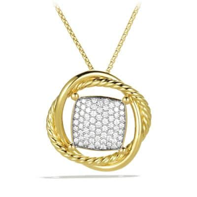 Infinity Medium Pendant Necklace with Diamonds in Gold