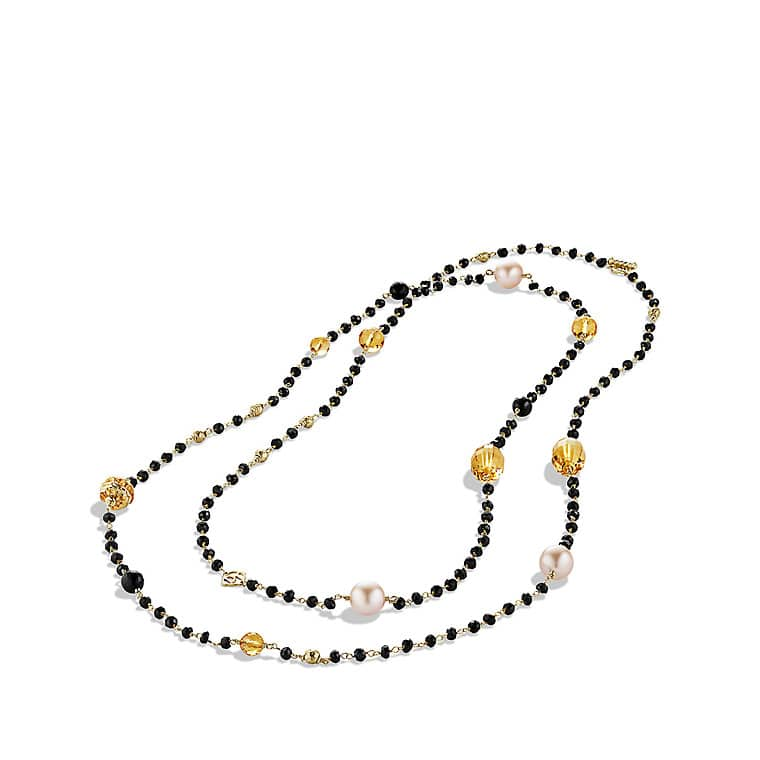 Bead Necklace with South Sea Pearls and Citrine in Gold