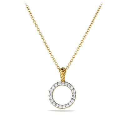 Cable Collectibles Circle Pendant Necklace with Diamonds in 18K Gold