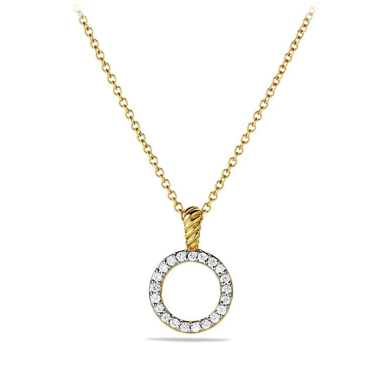 Cable Collectibles Circle Pendant Necklace with Diamonds in Gold