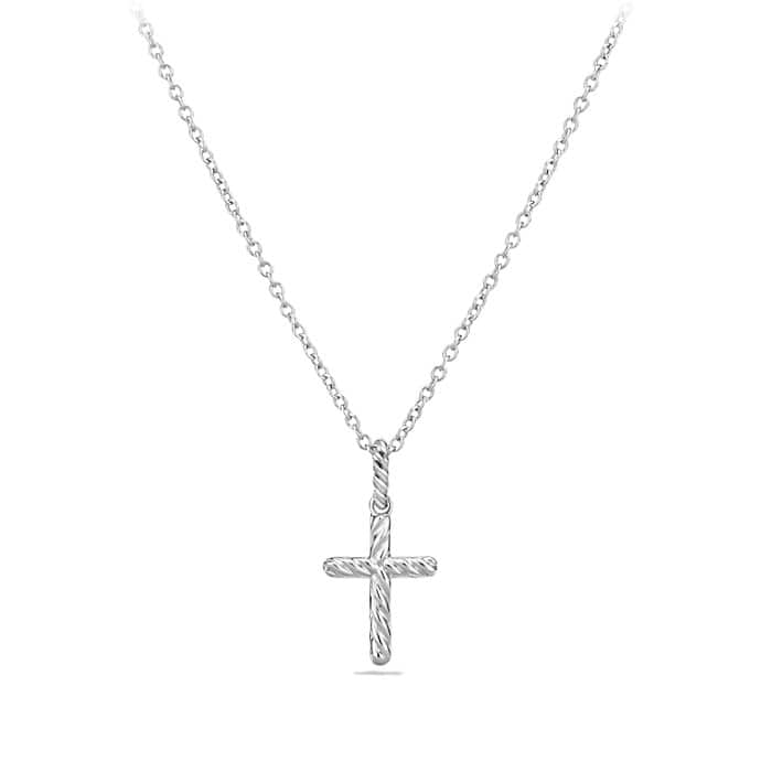 Cable Collectibles Cross Necklace with Diamonds in 18K White Gold