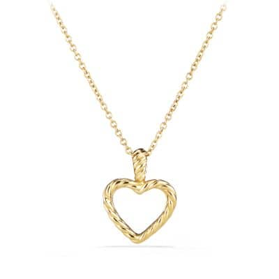 Cable Collectibles Heart Pendant Necklace with Diamonds in Gold