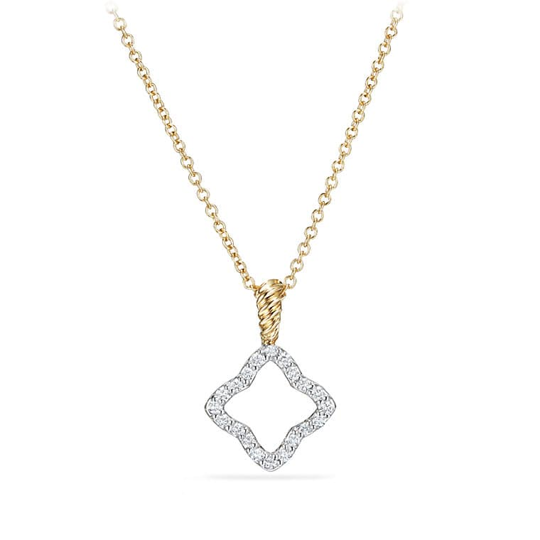 Cable Collectibles Quatrefoil Pendant Necklace with Diamonds in Gold
