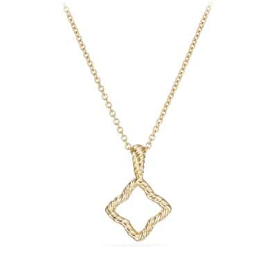 Cable Collectibles Quatrefoil Pendant Necklace with Diamonds in 18K Gold