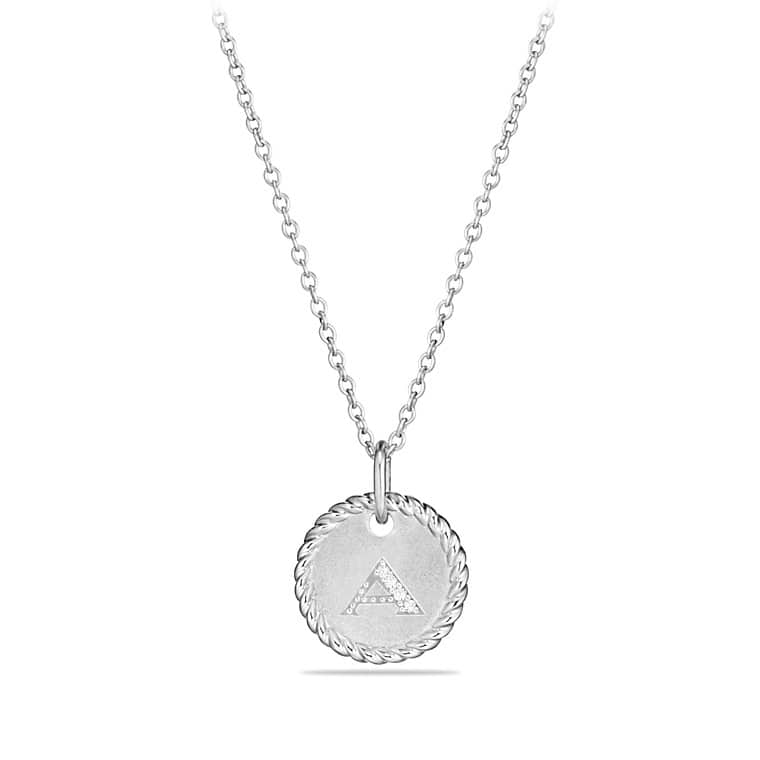 Charm necklace with diamonds in 18k white gold initial charm necklace with diamonds in 18k white gold mozeypictures Image collections