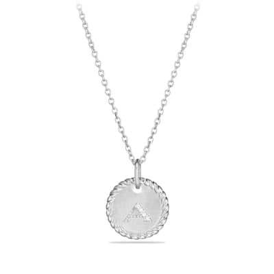 Initial Charm Necklace with Diamonds in 18K White Gold thumbnail