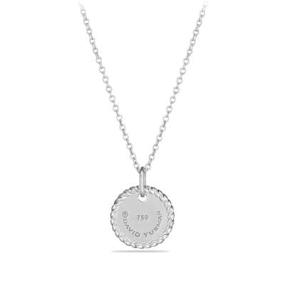 Initial Charm Necklace with Diamonds in 18K White Gold