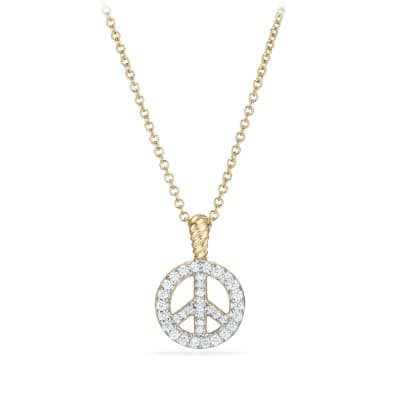 Cable Collectibles Peace Sign Pendant Necklace with Diamonds in Gold