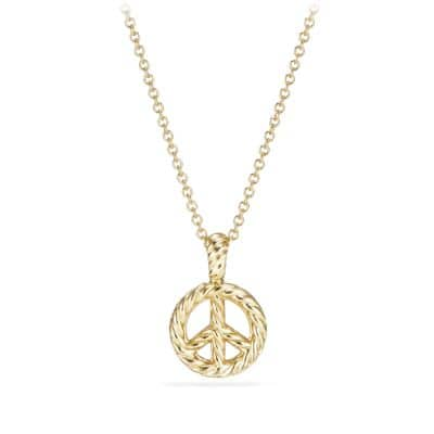 Cable Collectibles Peace Sign Pendant Necklace with Diamonds in 18K Gold