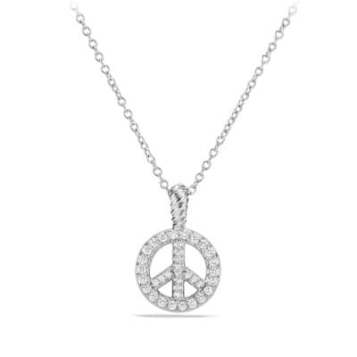 Cable Collectibles Peace Sign Pendant Necklace with Diamonds in 18K White Gold