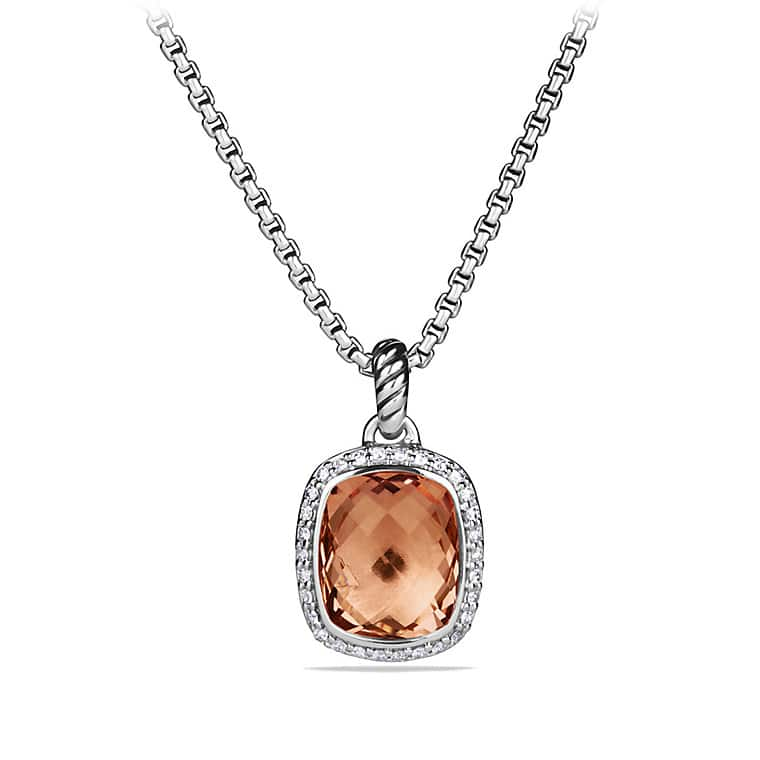 Noblesse Pendant Necklace with Morganite and Diamonds