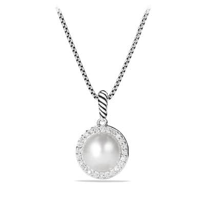 Cable Pearl Pendant Necklace with Diamonds
