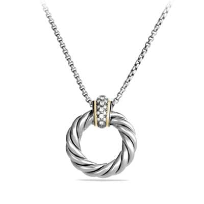 Cable Classics Small Pendant Necklace with Diamonds and Gold