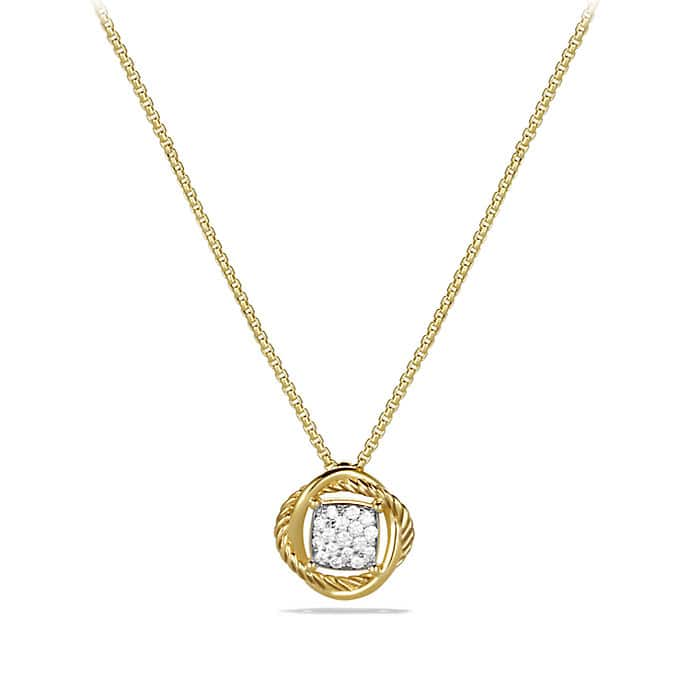 Infinity Pendant Necklace with Diamonds in Gold