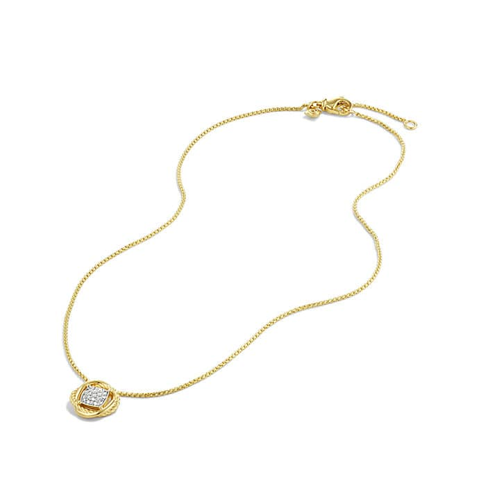Infinity Pendant Necklace with Diamonds in 18K Gold