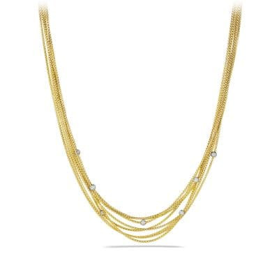Eight-Row Chain Necklace with Diamonds in 18K Gold