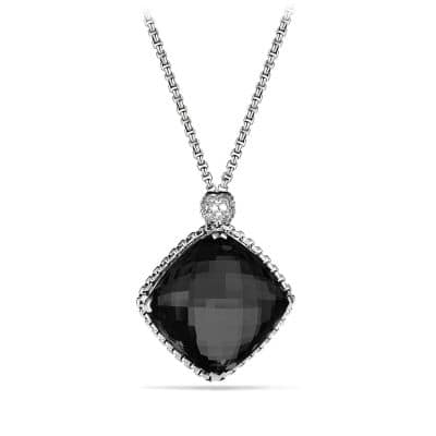 Cushion on Point Pendant Necklace with Black Onyx and Diamonds