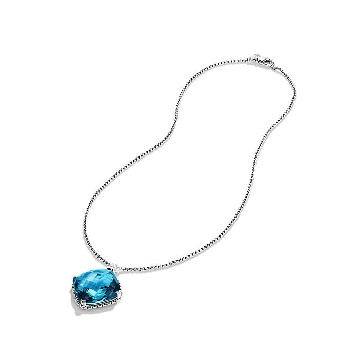 Cushion on Point Pendant Necklace with Hampton Blue Topaz and Diamonds
