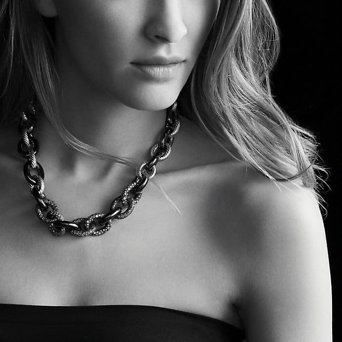 Midnight Mélange Oval Link Necklace with Black and White Diamonds