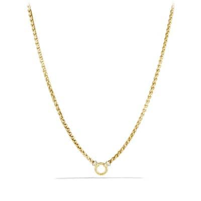Wheat Chain Necklace with Diamonds in 18K Gold thumbnail