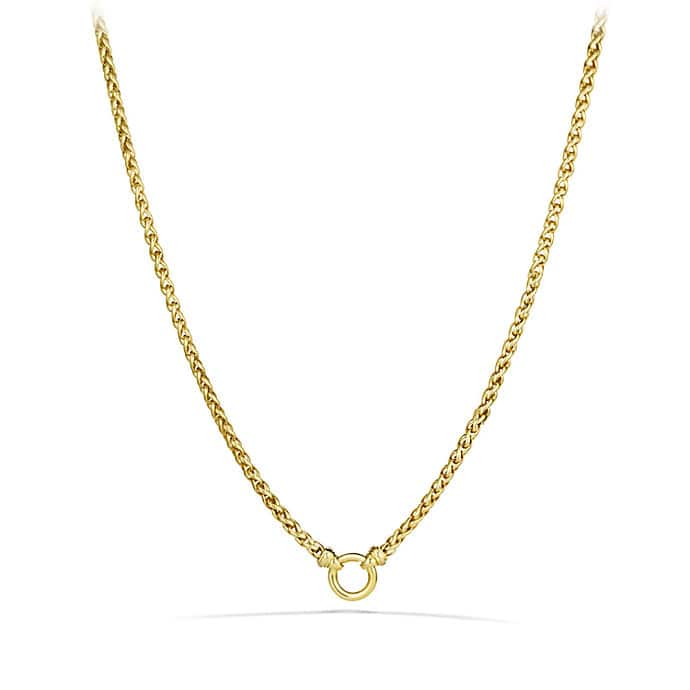 Wheat Chain Necklace with Diamonds in 18K Gold