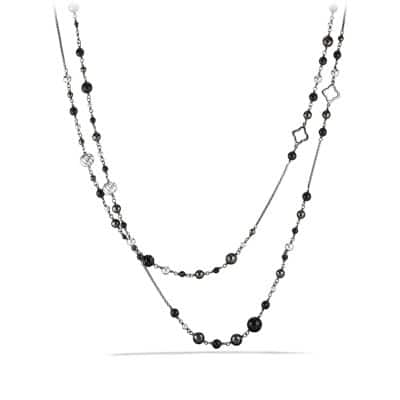 Bead and Chain Necklace with Black Onyx and Hematine