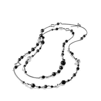 Bijoux Bead and Chain Necklace with Black Onyx and Hematine