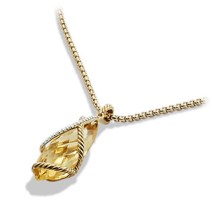 Cable Wrap Pendant Necklace with Champagne Citrine and Diamonds in Gold