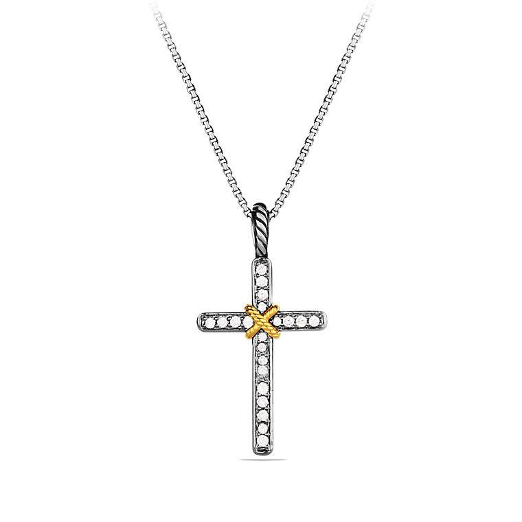 Cable Collectibles X Cross Necklace with Diamonds in Gold