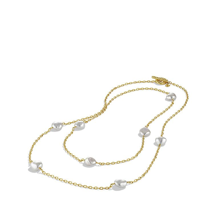 Chain Necklace with Baroque Pearls in Gold
