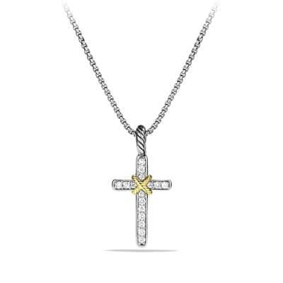 Cable Collectibles X Cross Necklace with Diamonds and Gold
