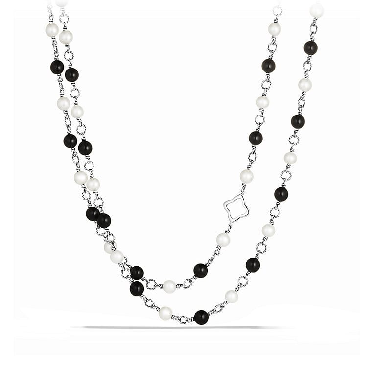 Bead Necklace with Black Onyx and Pearls