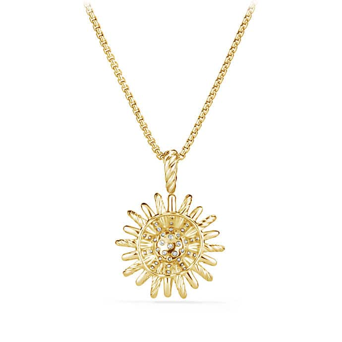 Starburst Pendant Necklace with Diamonds in Gold