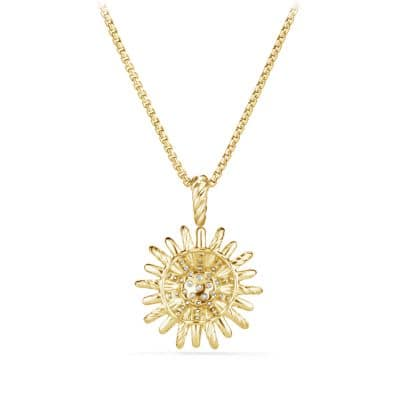 Starburst Small Pendant Necklace with Diamonds in 18K Gold, 18mm