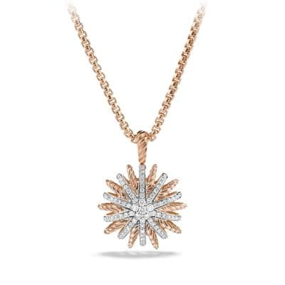 Starburst Pendant Necklace with Diamonds in Rose Gold