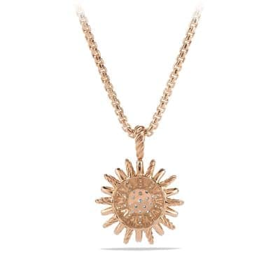 Starburst Small Pendant Necklace with Diamonds in 18K Rose Gold, 18mm