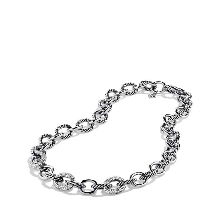 Oval Large Link Chain Necklace with Diamonds