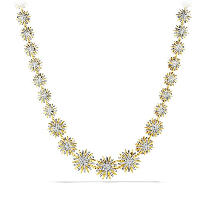 Starburst Link Chain Necklace with Diamonds in Gold