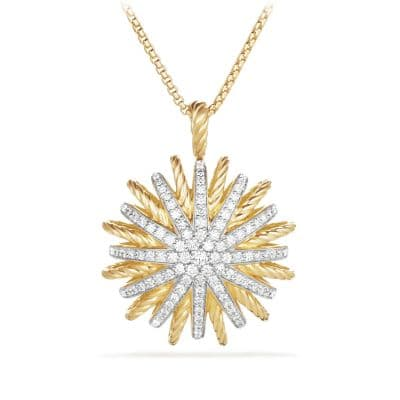 Starburst Large Pendant Necklace with Diamonds in 18K Gold, 35mm