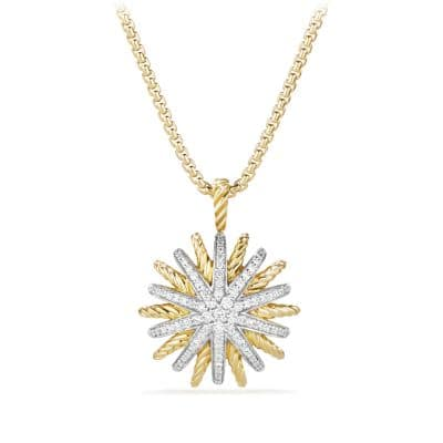 Starburst Medium Pendant Necklace with Diamonds in 18K Gold, 22mm